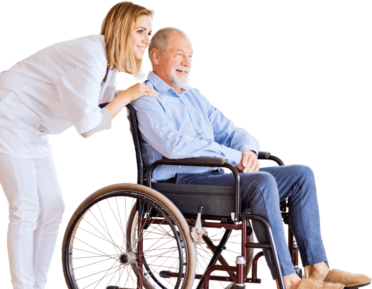 caregiver and senior man on wheelchair