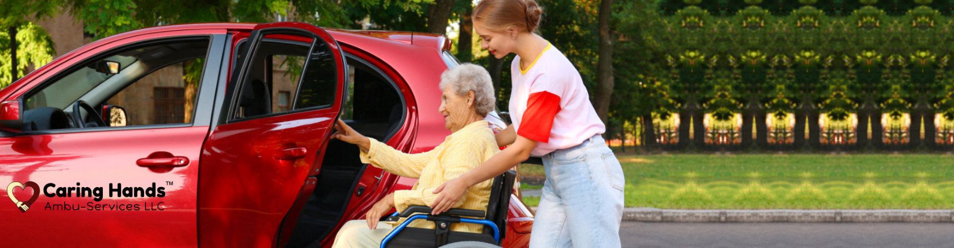 caregiver loading the elder lady on the car